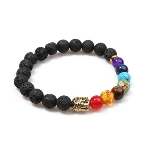 Bracelet Chakra Avec Bouddha En Argent