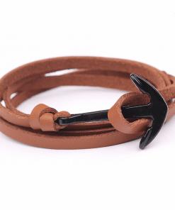 Bracelet Cuir Homme Ancre Marine