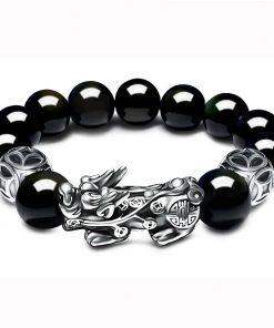 Bracelet Ancien Argent Obsidienne