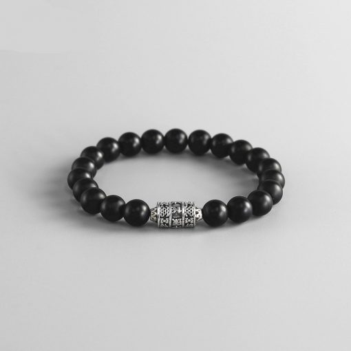 Bracelet Acier Perle Onyx Femme