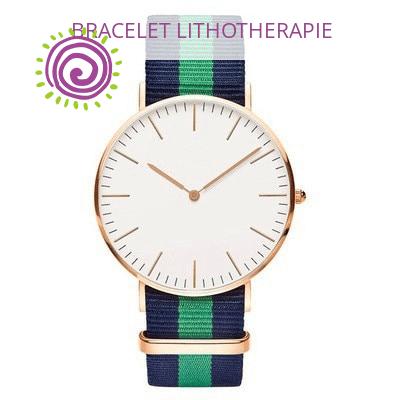 Montre Avec Bracelet Tissu Raye