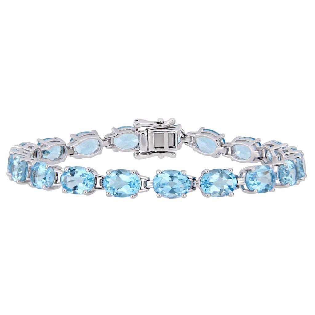bracelet en argent 925 de topaze bleu