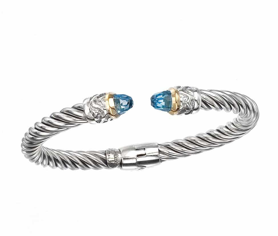 bracelet en jonc de topaze bleue