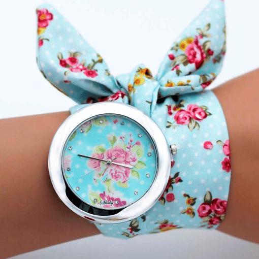 Montre Bracelet Tissu Rose Et Bleu
