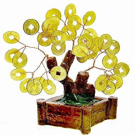 arbre feng shui avec de l'or