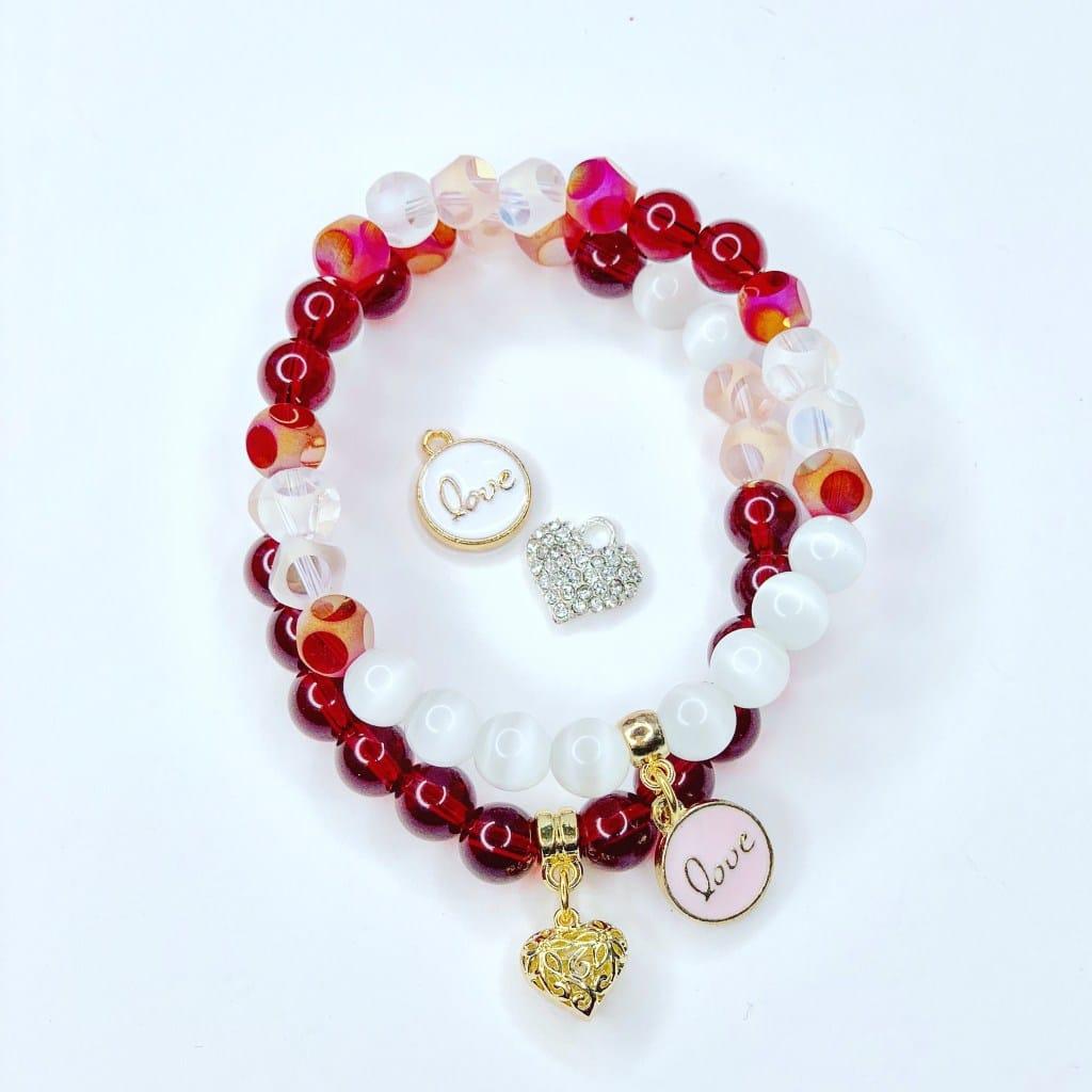 bracelet rouge et blanc saint valentin