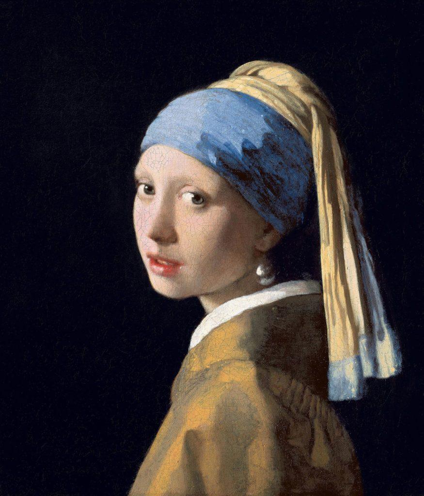 peinture avec boucles d'oreilles perle