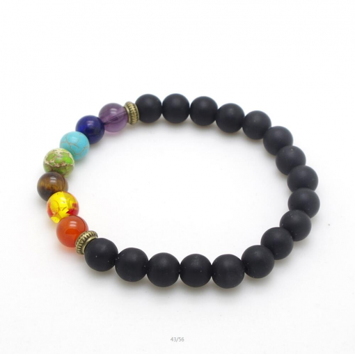 Bracelet Perle 7 Chakras Noir