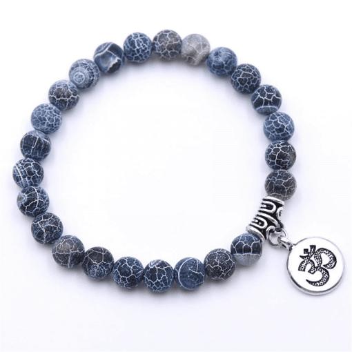 Bracelet Perle Bleu Craquelé