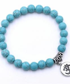 Bracelet Perle Bleu Turquoise Argent