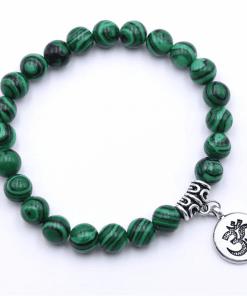 Bracelet Perle Malachite Verte En Argent