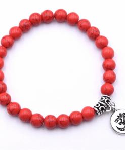 Bracelet Perle Rouge En Argent