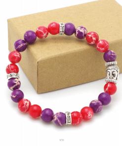 Bracelet Perle Rouge Et Mauve